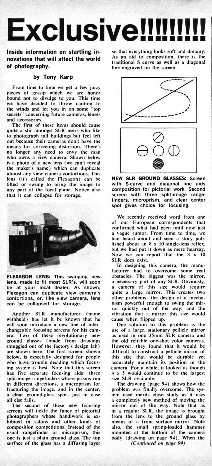An April Fool's article by Tony Karp that was published in the April, 1966 issue of Modern Photography. - A blast from the past - Tony Karp, design, art, photography, techno-impressionist, techno-impressionism, aerial photography , drone , drones , dji , mavic pro , video , 3D printing - Books -