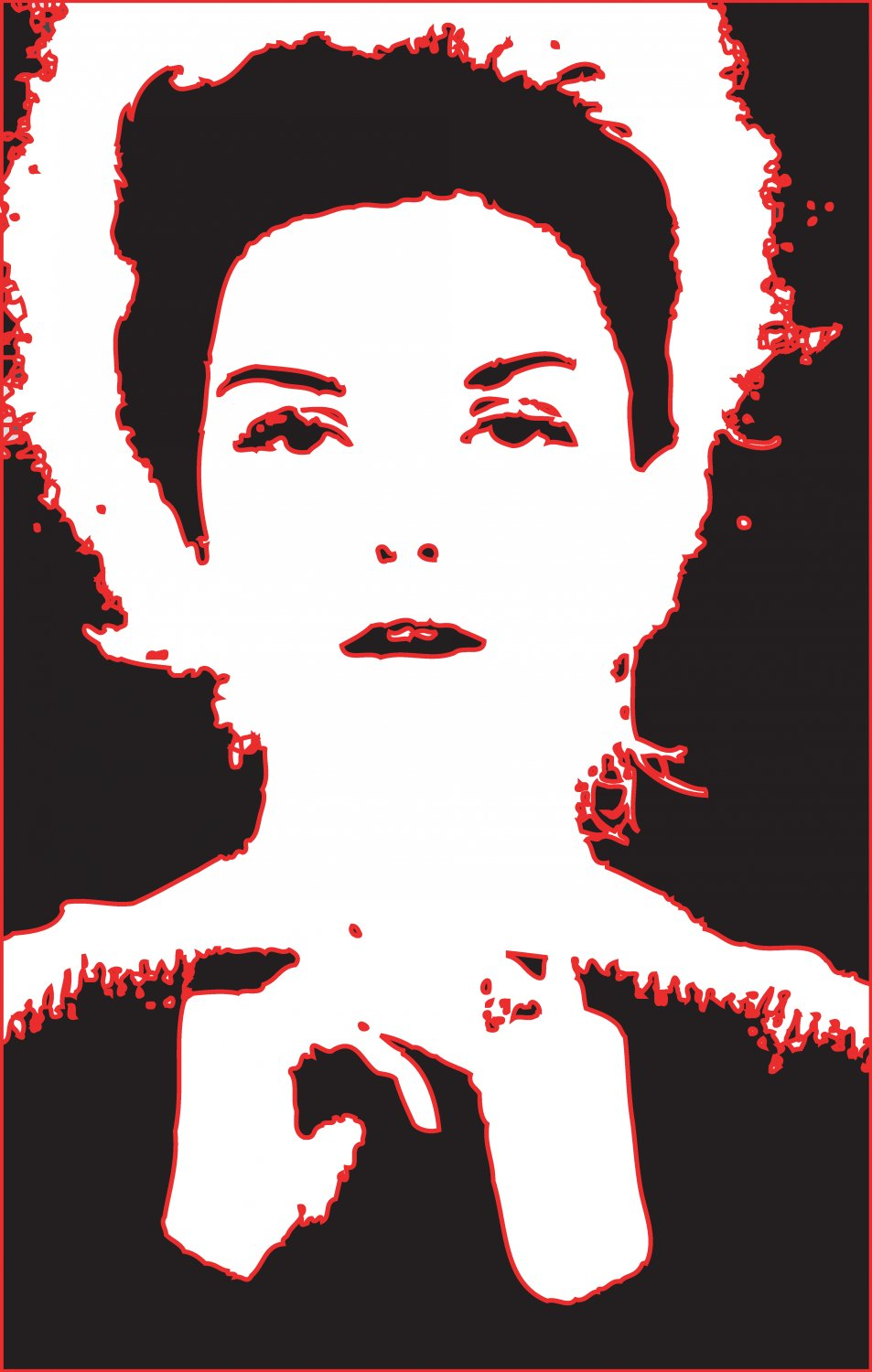 - Once in PostScript, I gave the shapes a nice red outline - A portrait of Donna Mitchell as a young model - 1962 - Tony Karp, design, art, photography, techno-impressionist, techno-impressionism, aerial photography , drone , drones , dji , mavic pro , video , 3D printing - Books -