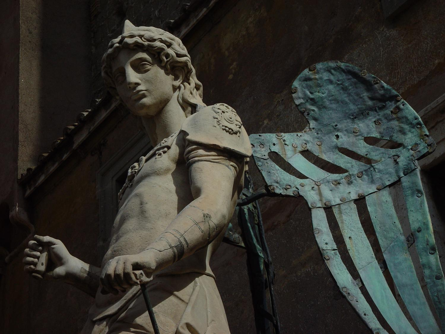 Angel at Castel Sant'Angelo #2 - - Photography becomes art - Making an angel - Angel at Castel Sant'Angelo - Rome, Italy - The archangel Michael decided to sheath his sword and stop killing Romans with plague--this statue by Raffaello da Montelupo (1504–1566) commemorates the end of an epidemic in 590. - Sony DSC-F707 - - art  - photography - by Tony Karp
