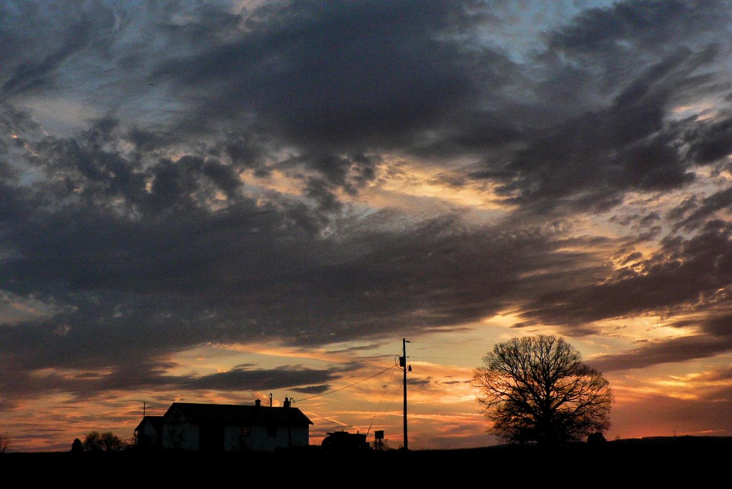 - A dramatic sunset to show off the farmhouse, the tractor, and the tree. -  - Panasonic DMC-FZ5 - Tony Karp, design, art, photography, techno-impressionist, techno-impressionism, aerial photography , drone , drones , dji , mavic pro , video , 3D printing - Books -