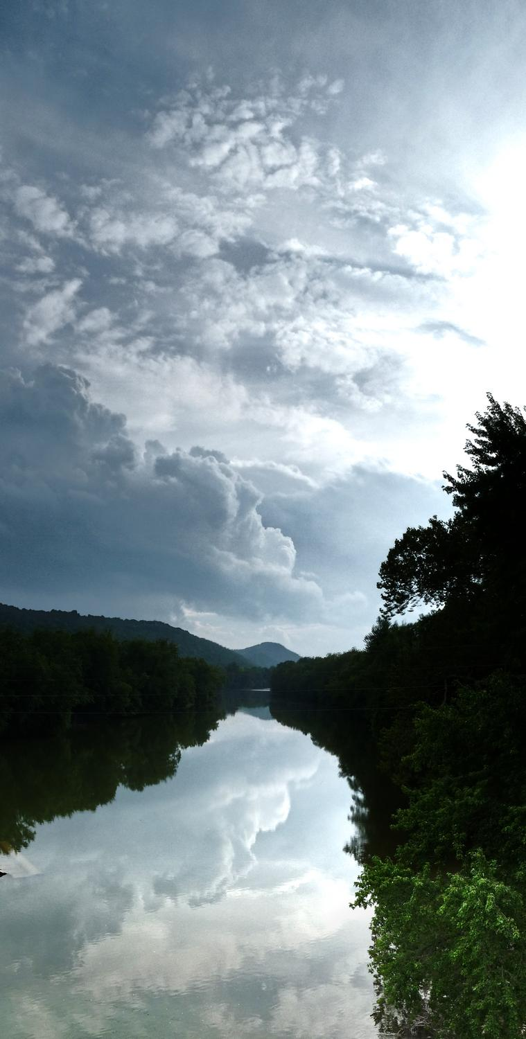 vertical panorama of a scene on the Shenandoah River - On the way back, we crossed the Shenandoah River. I pulled the car off on the side of the road and we walked back onto the bridge to see this view that most people see at 60mph. - Berryville Virginia - Panasonic DMC-FZ28 - - art  - photography - by Tony Karp