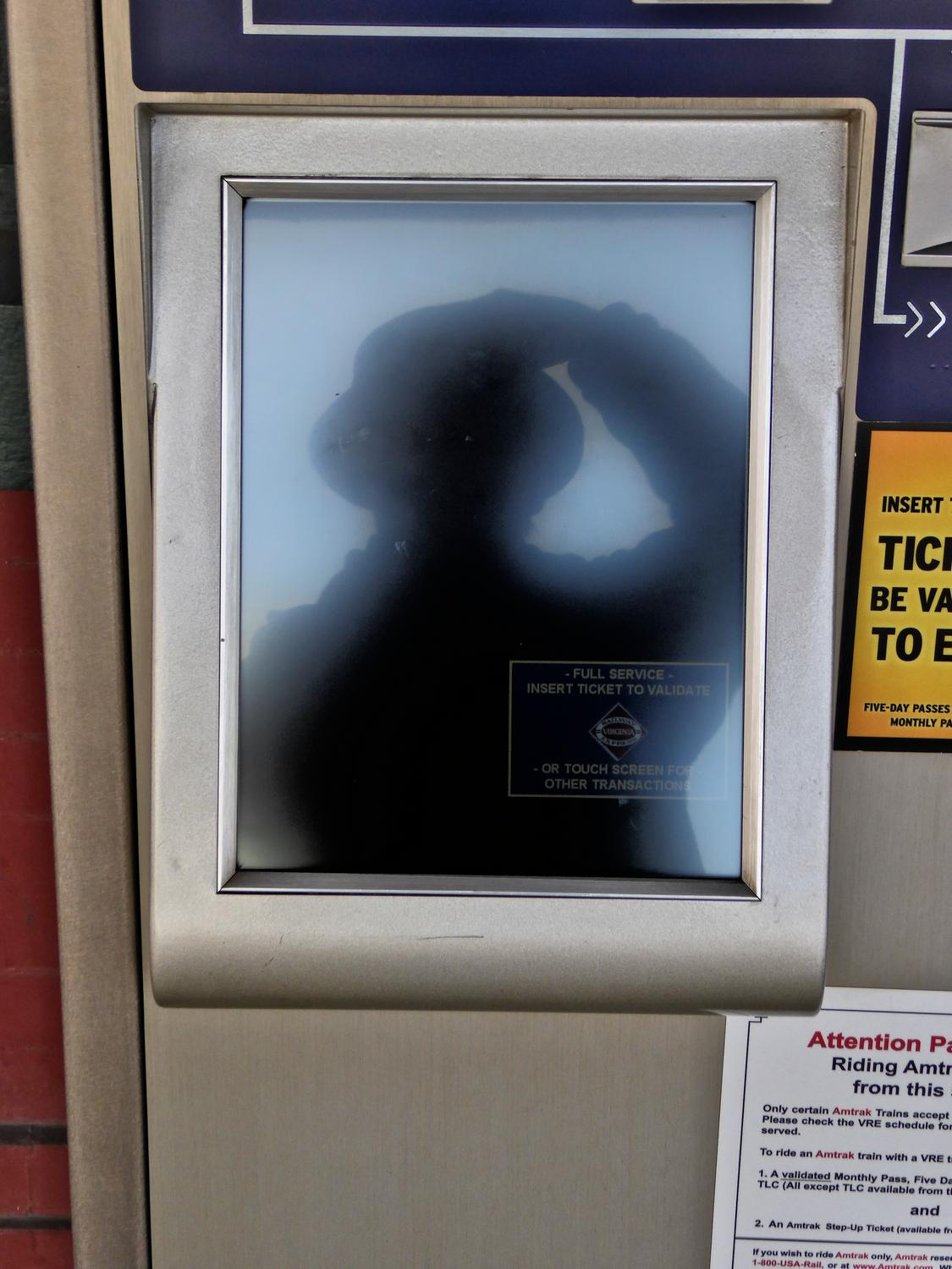 - Self portrait in an Amtrak vending machine. - Manassas Virginia, Panasonic DMC-ZS40 - Tony Karp, design, art, photography, techno-impressionist, techno-impressionism, aerial photography , drone , drones , dji , mavic pro , video , 3D printing - Books -