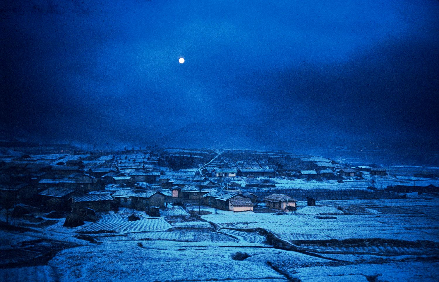 moonlit winter scene in Korea - Night falls on Uijongbu, Korea -1964 - Kodachrome - Tony Karp, design, art, photography, techno-impressionist, techno-impressionism, aerial photography , drone , drones , dji , mavic pro , video , 3D printing - Books -